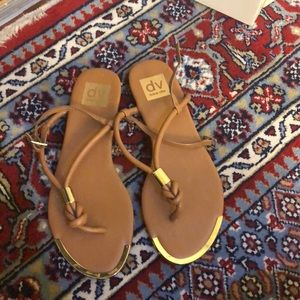 Dolce vita gold and tan brown sandal with strap